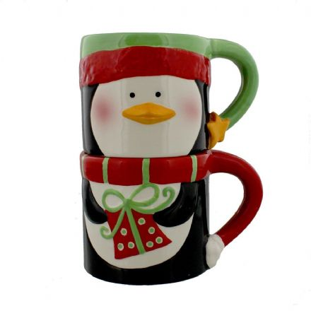 Green & Red Stackable Christmas Penguins Mug Set ~ 2 Mugs